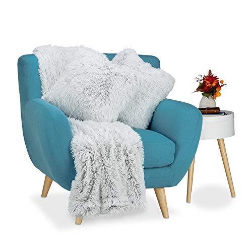 Relaxdays Couverture style fausse fourrure et 2 coussins fausse peau poils déco canapé salon synthétique, blanc-gris