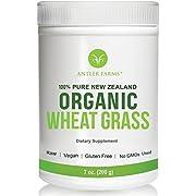 Antler Farms - 100% Pure New Zealand Organic Wheatgrass Powder, 50 Servings, 200g - Raw, Vegan, Gluten Free, Nutrient Rich, High Chlorophyll Wheat Grass, Detox, Essential Amino Acids, Minerals