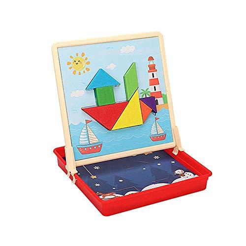 happygirr Tangram - Puzle magnético para niños, creativo, DIY, educación, diversidad tridimensional interactiva