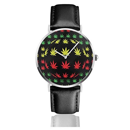 Reloj de pulsera de cuarzo, con fondo de marihuana, resistente al agua, correa de piel sintética, reloj de cuarzo de acero inoxidable clásico