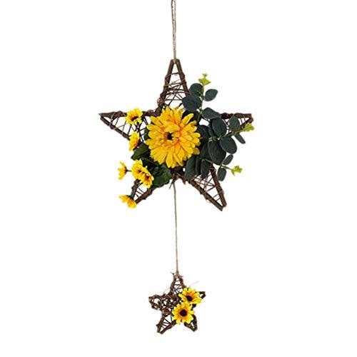 KESYOO Pentagrama Círculo Círculo Flor Artificial Colgante de pared Moderno Minimalista Decoración de pared Imitación Flor de ratán para baño Casa del cementerio (60x25cm)