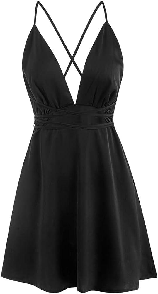 ZAFUL Women's Cherry Print Tie Shoulder Sleeveless Flare Beach Cami Mini Dress