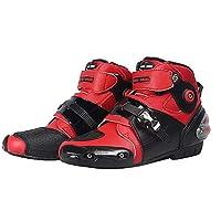 RENHE オートバイブーツ バイク用靴 メンズバイクブーツ プロテクトスポーツブーツ ライディングシューズ レッド EU44サイズ,27.0cm