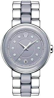 ساعة موفادو للنساء بمينا رمادي وبسوار ستانلس ستيل - 0606554