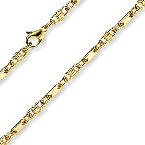 3mm Platte-Steigbügel Kette Collier Halskette, 585 Gold Gelbgold, 50cm