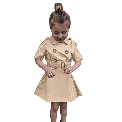Kids Little Girls Mid Sleeve Parka Trench Fashion Windbreaker Jacket with Waistwrap 2-7 Years