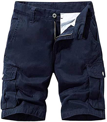 NTNY3 Pantaloni Uomo Corti Bermuda Pantaloni Ragazzo Cargo con Tasche Laterali (Blu Scuro, XL)