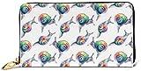 Womens Rainbow Crystal Clear Lumache Pattern Portafogli in pelle RFID Bloccaggio Zip Intorno Portafoglio in Vera Pelle Frizione Portafoglio Titolare Carta Da Viaggio Borsa Da Polso