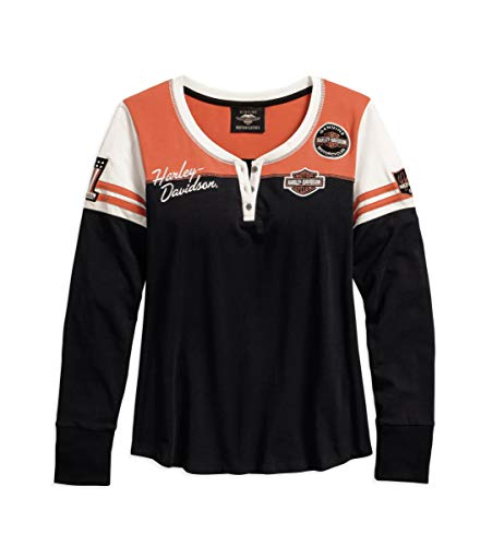 HARLEY-DAVIDSON Official Women's Classic Colorblock Henley, Black (Large)