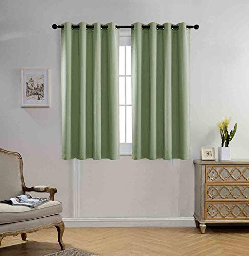 Miuco Blackout Curtains Room Darkening Curtains Textured Grommet Panels for Kitchen 2 Panels 52x63 Inch Long Sage