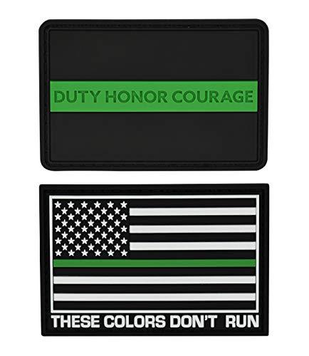 Great 1 Products Amerikanische Flagge Patch Set 2x3 Zoll Flexibles PVC Material Haken & Schlaufe Militär Taktisches Zubehör für Kleidung Jacken Hüte Rucksäcke (Thin Green Line Set 2)