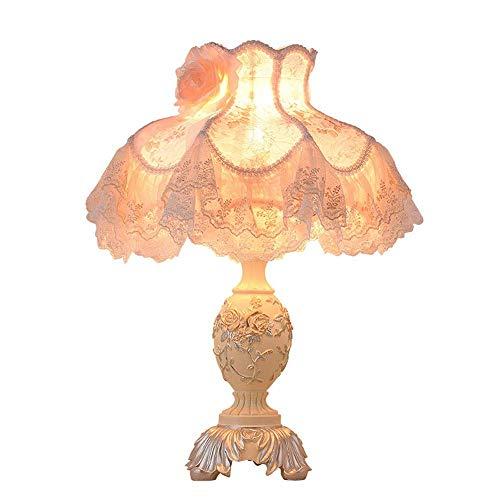 Lámpara Escritorio Lámpara de ara?a de borla de tela de encaje de flor blanca pasada de moda nacional lámpara de mesa de resina verde lámpara de iluminación lámpara de cabecera dispositivo de cuerpo h