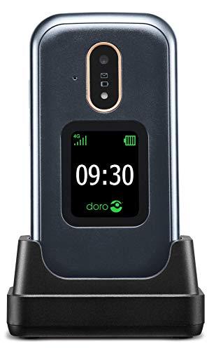 Doro 7080 Telefono Cellulare a Conchiglia 4G per Anziani con Facebook e WhatsApp per Videochiamate, GPS e Base di Ricarica (Grigio Scuro) [Versione Italiana]