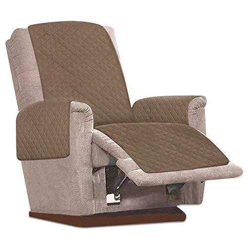 JTWEB Sesselschoner Sesselauflage Relax mit rutschfest, 1 Sitzer Sesselschutz Sofaüberwurf mit 2.5 cm Breiten verstellbaren Trägern (Kamel)