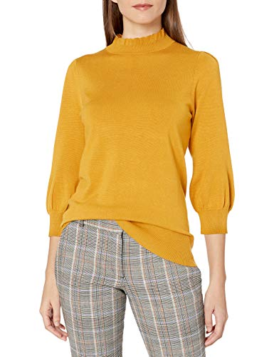 Amazon Brand - Lark & Ro Women's Three Quarter Balloon Sleeve Ruffle Mock Neck Sweater, Chai Tea, XS