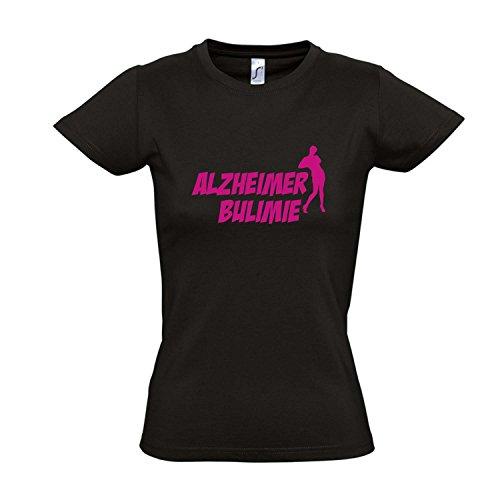 Damen T-Shirt - ALZHEIMER BULIMIE - FUN KULT SHIRT S-XXL , Deep black - pink , M