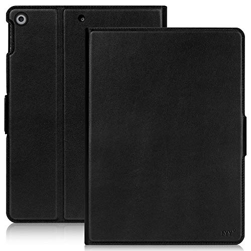 Fyy iPad 10.2 2019 Case, iPad 7th Generation Case, Cowhide Genuine Leather Handcrafted Case Cover with [Auto Sleep-Wake Function][APPLE Pencil Holder] for Apple iPad 10.2 2019 Black