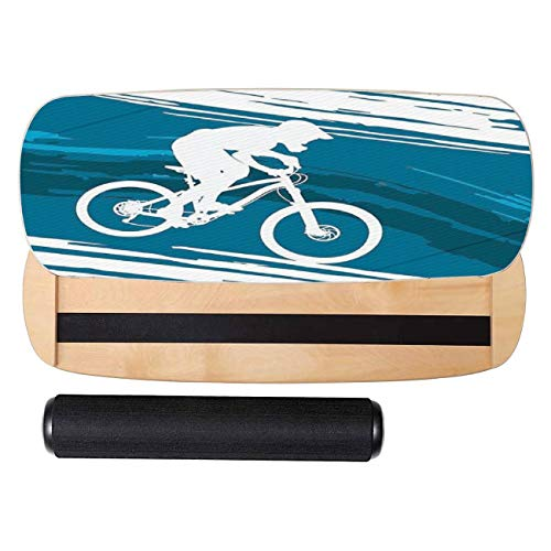 VioletAtelier Balance Board Trainer, Silhouette of a Cyclist Riding a Mountain Bike Stealth Core Trainer for Balance Fitness Ski Surf Skateboard Snowboard Hockey Training