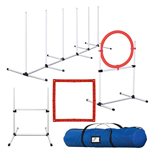 CHEERING PET, Dog Agility Training Equipment, 4 Piece Dog Obstacle Course Includes Dog Jump, Tire...