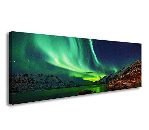 bestpricepictures 120 x 40 cm Bild auf Leinwand Polar Licht Nodlichter Aurora Borealis 5738-SCT deutsche Marke und Lager - Das Bild Polarlicht, Wandbild BZW. Kunstdruck ist fertig gerahmt.