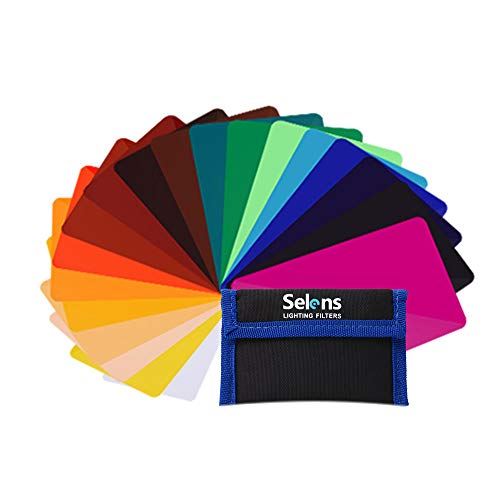"Selens 20 Pieces Universal Gels Lighting Filter Kit for Camcorder LED Video Light, 3.74"" x 2.56"" Transparent Color Correction Lighting Film Plastic Sheets"
