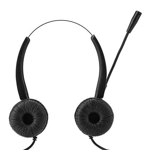 DAUERHAFT Auriculares de Centro de Llamadas compactos, cómodos y estirables, antienvolución, opción para Servicio de atención al Cliente por teléfono/Ventas telefónicas