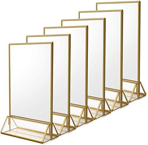 A5 Porte Menu Restaurant   Lot de 6 T-Forme Présentoir   Golden Sided Acrylique Transparent Double D'annonce Affichage   Parfait pour les Promotions, les cadres photo, Menus, pour Fête de Mariage