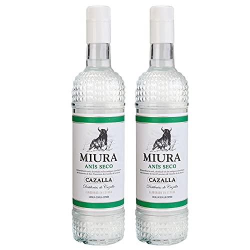 Licor Anis Seco Miura de 70 cl - Elaborado en Sevilla - Bodegas Grupo Caballero (Pack de 2 botellas)