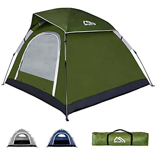 Campingzelt Premium Pop Up Zelt 2-3 Personen Würfelzelt Wasserdicht Winddicht Kuppelzelt Zelt (Olivgrün)
