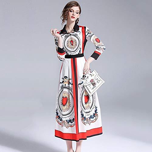 QUNLIANYI baljurk lang dames tule designer jurk lange mouwen Peter Pan kraag vrouwen vintage print hart slank party jurk lang maxi jurk