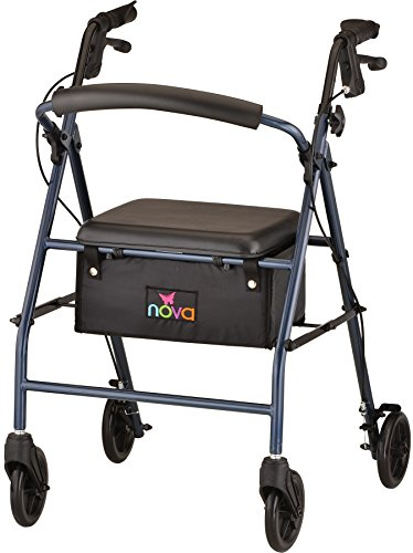 NOVA Vibe 6 Steel Rollator Walker, Blue