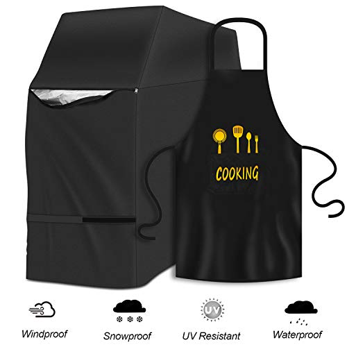 Hailey&Elijah 2020-new Grille Cover, Barbecue Grill, Barbecue Grill Cover, Gas Grill, Tarpaulin Grill, 600D Oxford Cloth (147x61x122cm), Free Kitchen Apron, Storage Bag, Apron (Black)
