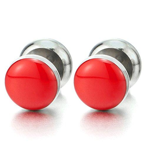10MM Enchufe Falso Fake Cheater Plugs Gauges, Círculo Pendientes con Rojo Esmalte de Hombre Mujer, Acero, 2 Piezas