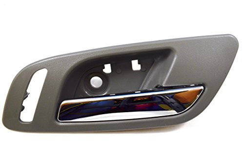 PT Auto Warehouse GM-2546MG-FR - Inside Interior Inner Door Handle, Gray (Titanium) Housing with Chrome Lever - with Heated Seat Hole, Passenger Side Front