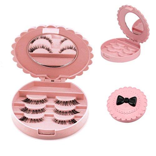 Daoroka Acrylic Cute Bow False Eyelash Storage Box Makeup Cosmetic Mirror Case Organizer Pink