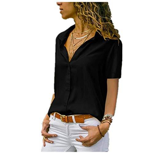 Elegante Revers Kantoor Dame Werkkleding Shirt Vrouwen Effen Korte Mouw Chiffon Blouses Zomer Wit Geel Blouse Tops - zwart - XL
