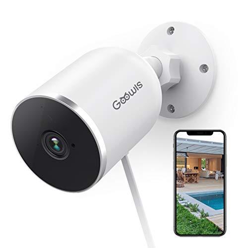 WLAN Kamera Outdoor, Goowls 1080P HD Überwachungskamera Aussen 2.4G IP Kamera Ooutdoor, wasserdichte Bewegungserkennung Infrarot Nachtsicht Alert Cloud Service,Kompatibel mit Alexa