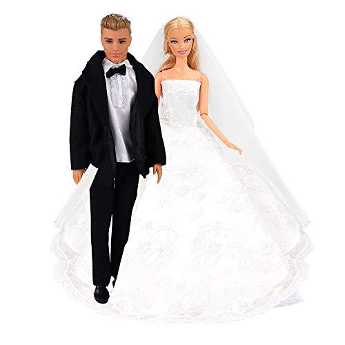Miunana Formales Anzug Kleider Kleidung Hochzeit Brautkleid Hochzeitskleid mit Brautschleier für 11,5 Zoll Puppen