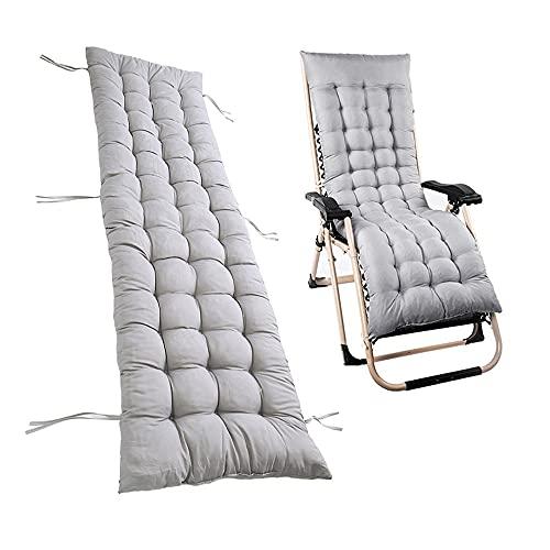 Auflagen für Gartenliegen Gartenstuhlauflage Polster für Relaxstühle Hochlehner Liegenauflagen Liegestuhl Auflage Gartenmöbel Kissen Relaxliege 160x48 cm Waschbar (Grau)