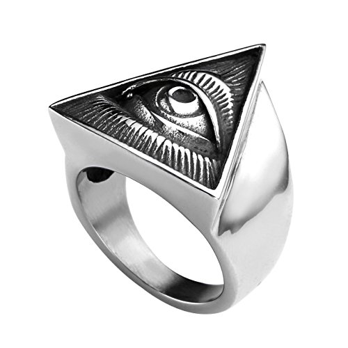 Zysta All Seeing Eye Ring for Men Illuminati Eye of Providence Finger Rings Pyramid Triangle Solid...
