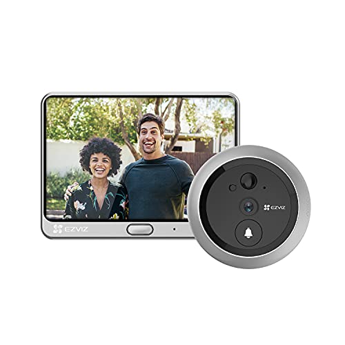 EZVIZ Mirilla Digital de Puerta con Pantalla LCD de 4.3'' Cámara Video Timbre Inalámbrico Monitor con Batería Recargable de 4600 mAh, Detección de Movimiento PIR, Audio Bidireccional, DP1C