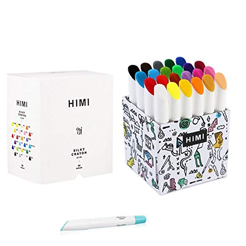 HIMI 24 Pcs Crayons Set,Non-Toxic & No Mess Coloring Gel Crayons-Washable,Retractable Color Crayons for Kids Children Coloring, Crayon-Pastel-Watercolor Effect, Ideal for Paper