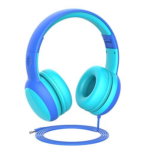 Gorsun Auriculares para niños, Volumen Limitado en el oído Auriculares para niños con Conector de Audio de 3.5 mm para niñas y niños, Auriculares con Cable Ajustable y Plegable (Azul)