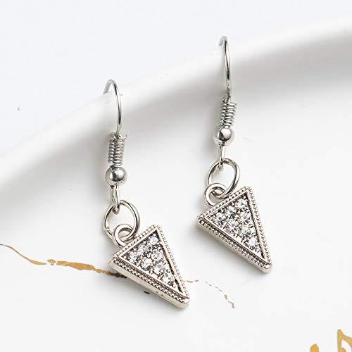 Épingles d'oreille brillant en forme de coeur boucles d'oreilles en forme de pendants pour les femmes et les filles fiançailles de mariage triangle argent 01