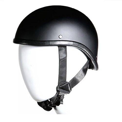 "Bikeraccess Low Profile Skull Cap Harley Chopper Novelty Gladiator Flat Black Motorcycle Helmet Skid Lid (Medium 22 1/4"" - 22 3/4"")"