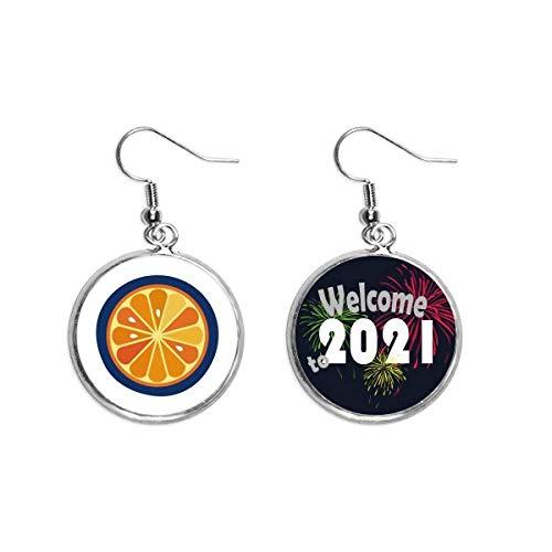 O Alfabeto Naranja Fruta Lindo Patrón Oído Colgantes Pendiente Joyería 2021 Bendición