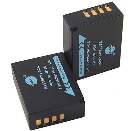 DSTE 2-Pack Rechange Batterie pour Fujifilm NP-W126 FinePix HS30EXR HS33EXR HS35EX HS50EXR X-A1 X-E1 X-E2 X-M1 X-Pro1 X-T1 X-T10