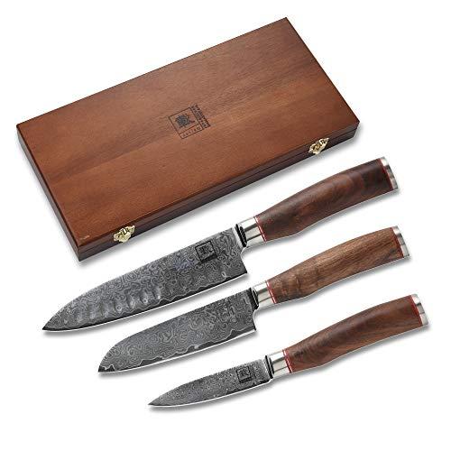 Zayiko 3er Damastmesser Set Klingen von 8,50 cm- 17,50cm VG10 extrem scharf aus 67 Lagen mit Nussbaumgriffen | Damast Küchenmesser und Profi Kochmesser Set aus Damaststahl mit Holzbox