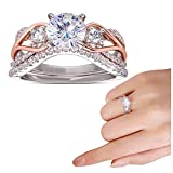 Fashion Two-color Double Diamond Ring for Women Elegant Jewelry Crystal Gem Zircon Rings Gift for Girlfriend
