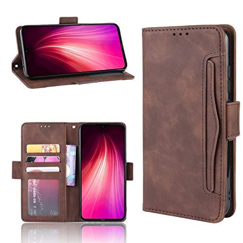 LODROC Xiaomi Redmi Note 8 Hülle, TPU Lederhülle Magnetische Schutzhülle [Kartenfach] [Standfunktion], Stoßfeste Tasche Kompatibel für Xiaomi Redmi Note8 - LOBYU0201024 Braun